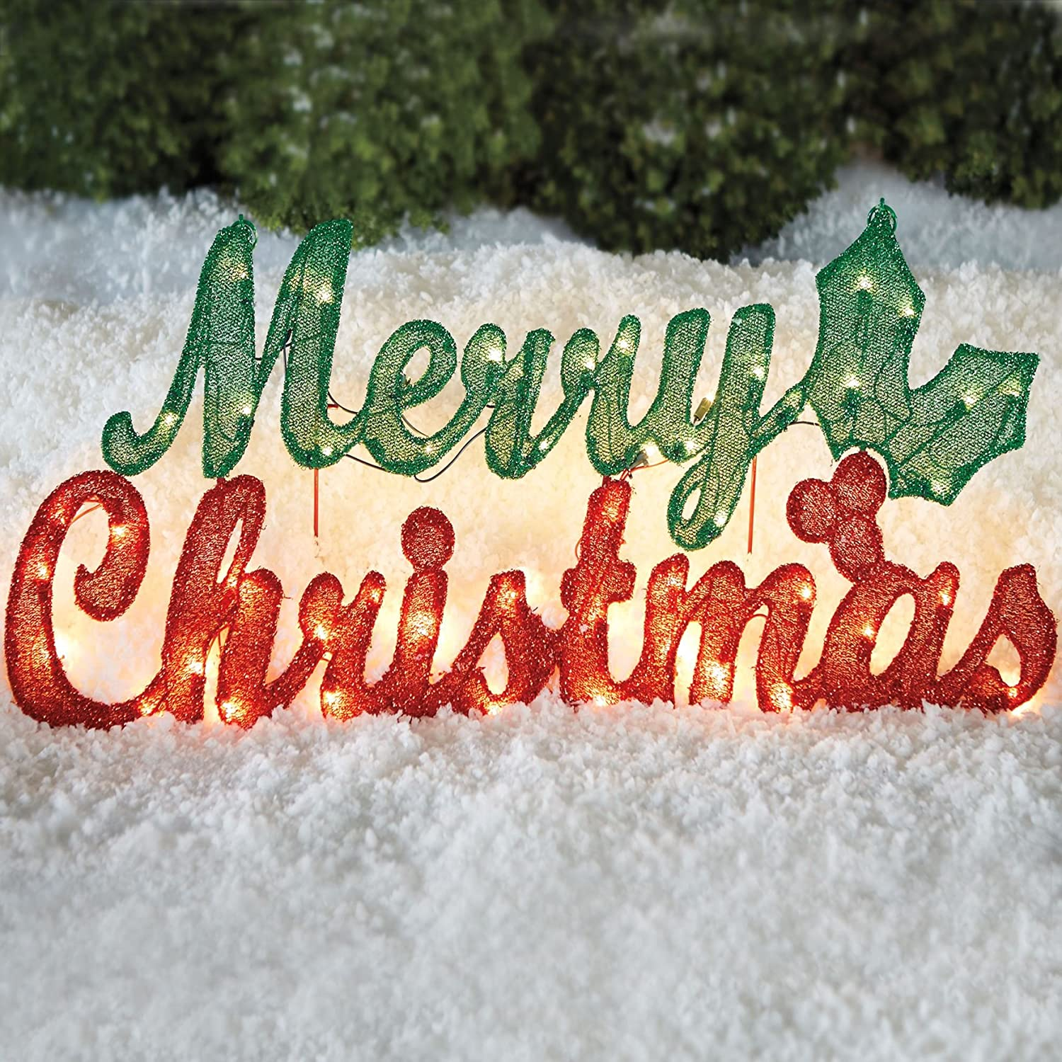 Amazon BrylaneHome Pre Lit Merry Christmas Sign Red Green 0
