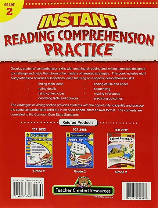 Instant Reading Comprehension Practice Grade 3: Ruth Foster ...
