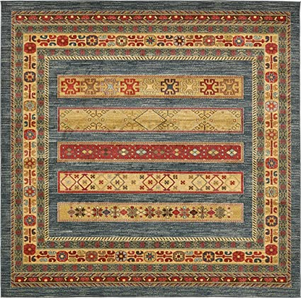 148cd3af930 Land of Gabbeh Rugs Modern Contemporary Persian Design Blue 8  x 8  FT  Square