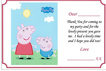 10 Glossy Peppa Pig Thank You Notes Cards Free Delivery Amazon Co