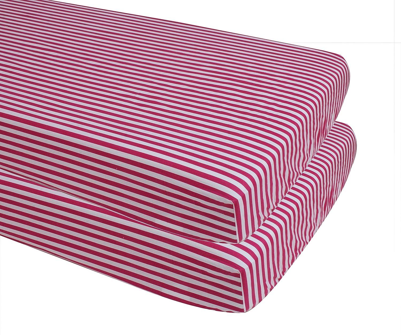 FUST2PYS Fuchsia Inc 100 Percent Cotton Bacati Pin Stripes 2 Piece Play Yard Sheets