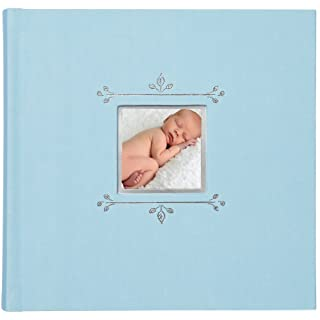 C.R. Gibson Blue Cloth Slim Bound Photo Journal Album for Baby and Newborn Boys, 9' W x 8.875' H, 80 Pages 9 W x 8.875 H C.R. Gibson - Baby BP1-18488