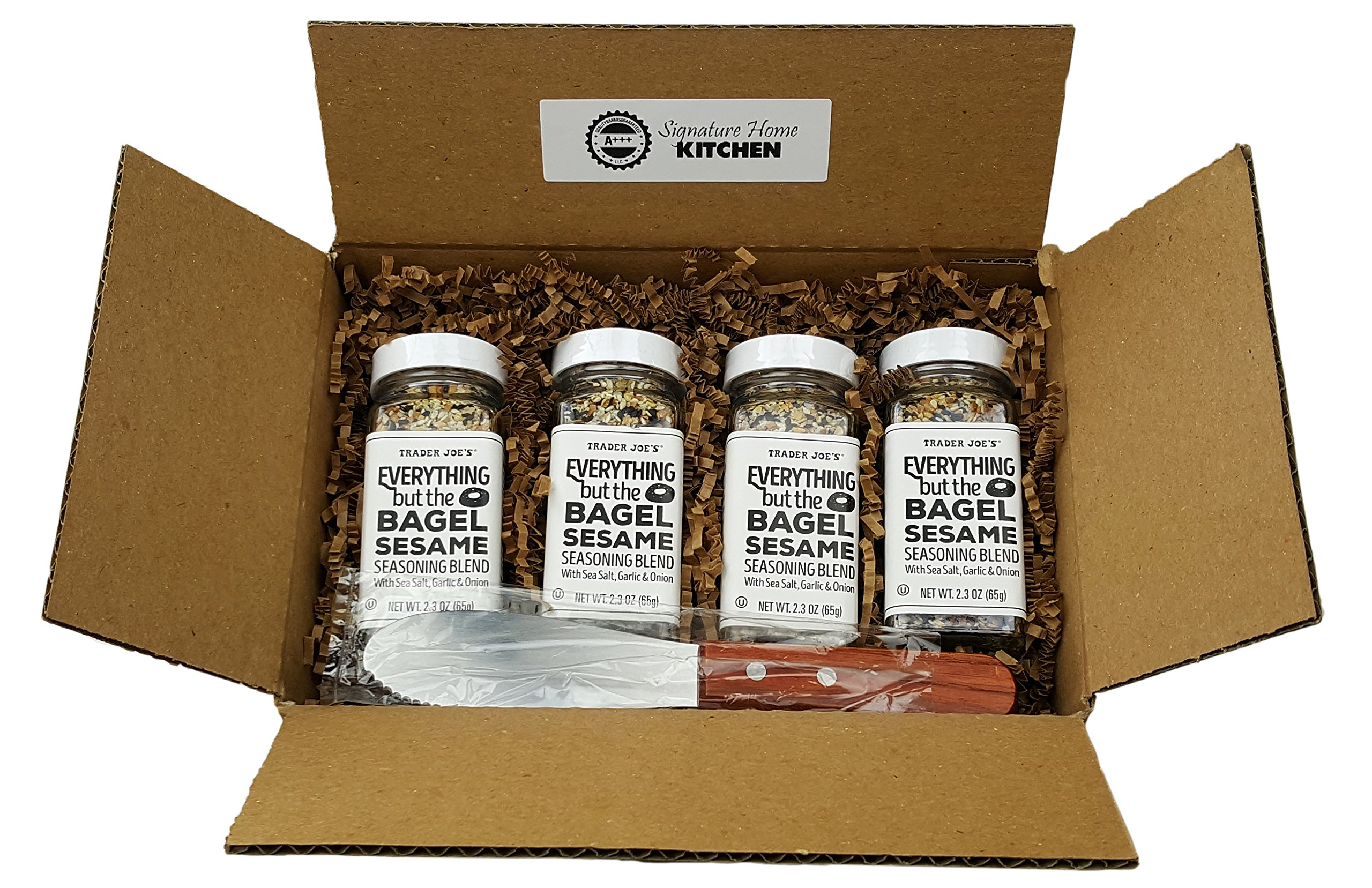 Trader Joes Everything but The Bagel Sesame Seasoning Blend With Sea Salt, Garlic and Onion Bundle - (Pack of 4) and Butter/Cream Cheese Spreading Knife by Unknown (Image #1)