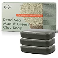 O Naturals 3Pc Acne Treatment Deep-Cleansing Bar Soap. For Oily Face, Scalp, Hair & Body. Dead Sea Mud & Green Clay Pore Cleanser Eczema Psoriasis Blackhead Skin Detox Exfoliating Dead Skin Cells 113g