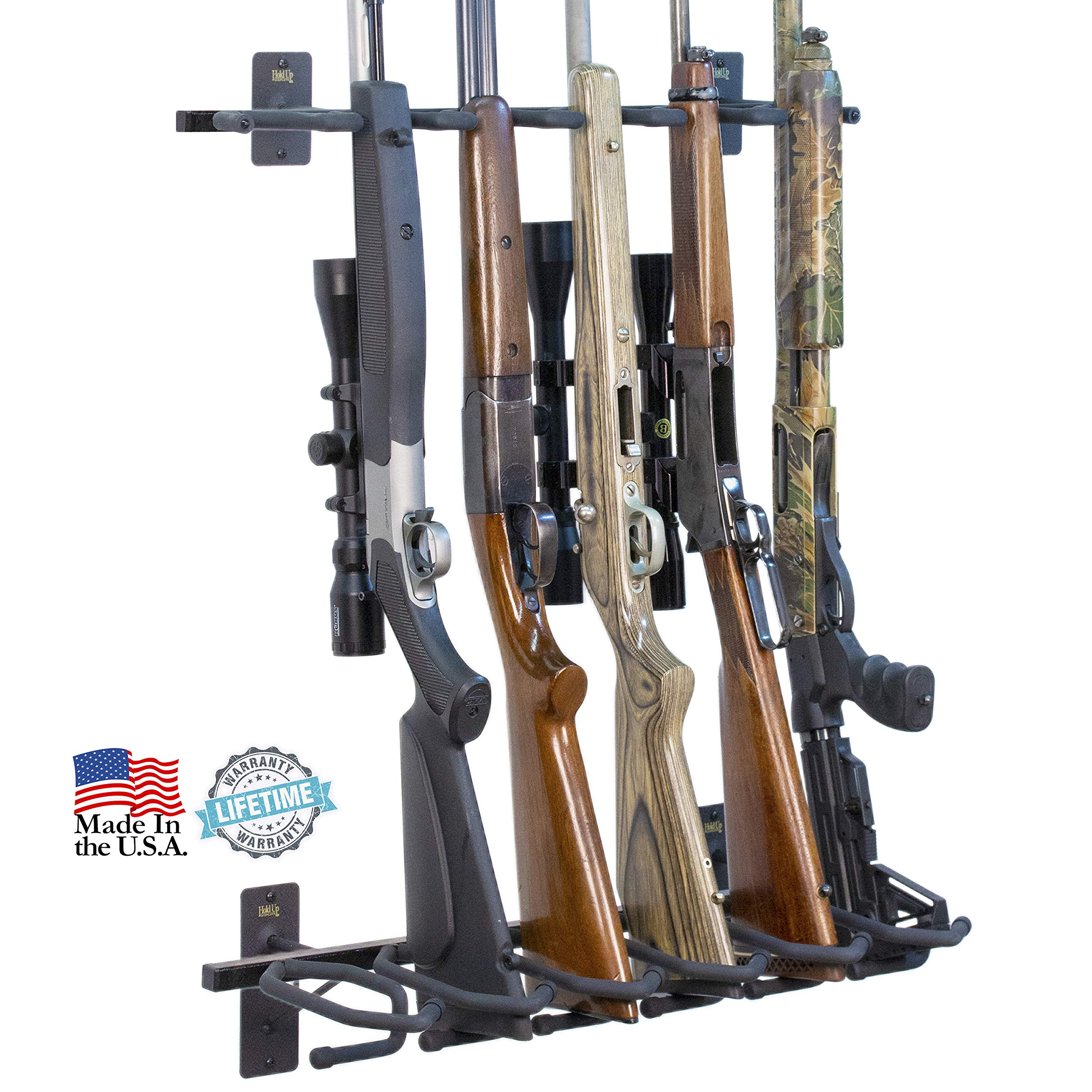 Hold Up Displays - Gun Rack and Rifle Storage Holds 6 Winchester Remington Ruger Firearms and More - Heavy Duty Steel - Made in USA by Hold Up Displays