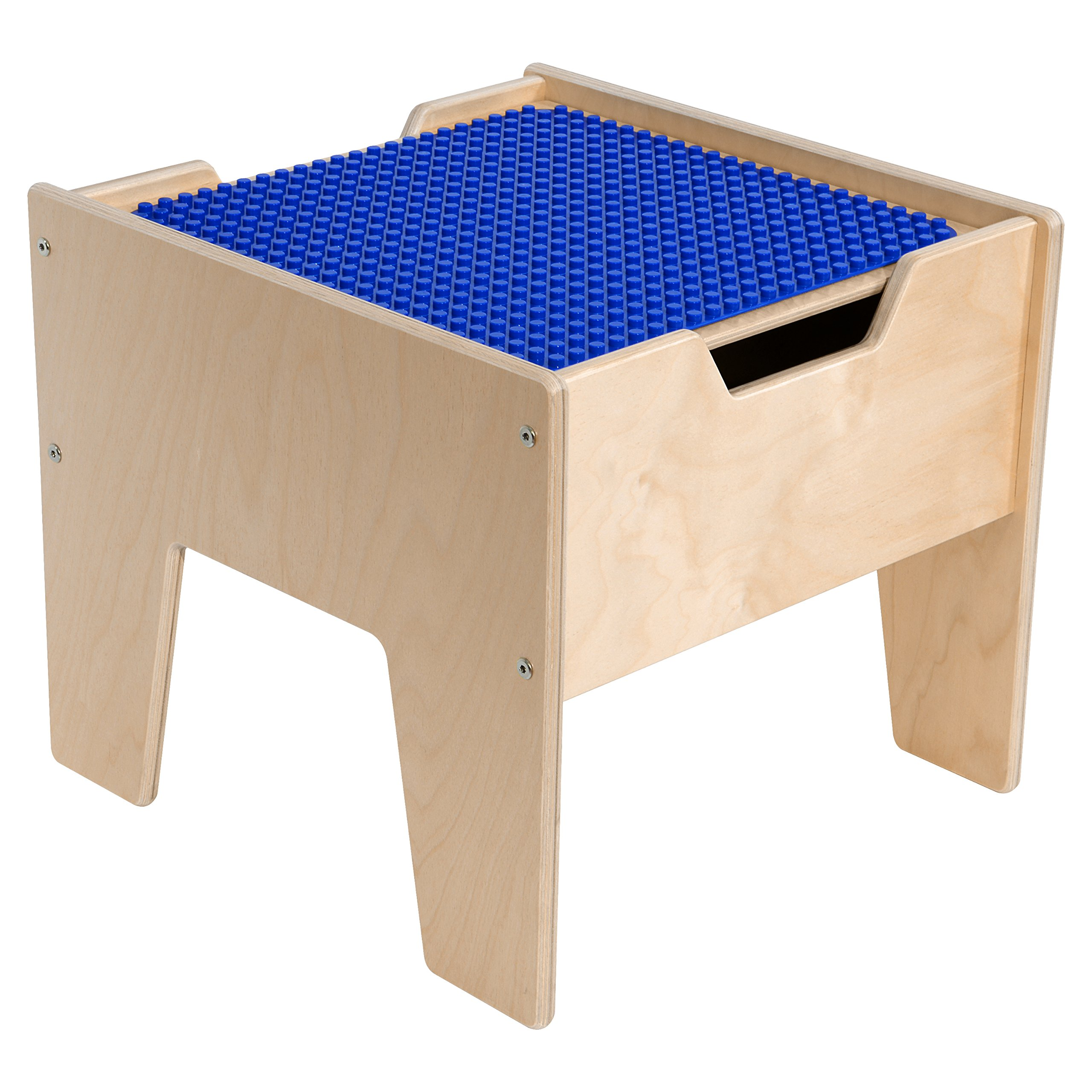 Contender C991300-PB 2-N-1 Activity Table with DUPLO Compatible Top, RTA, Wood, Blue/Natural