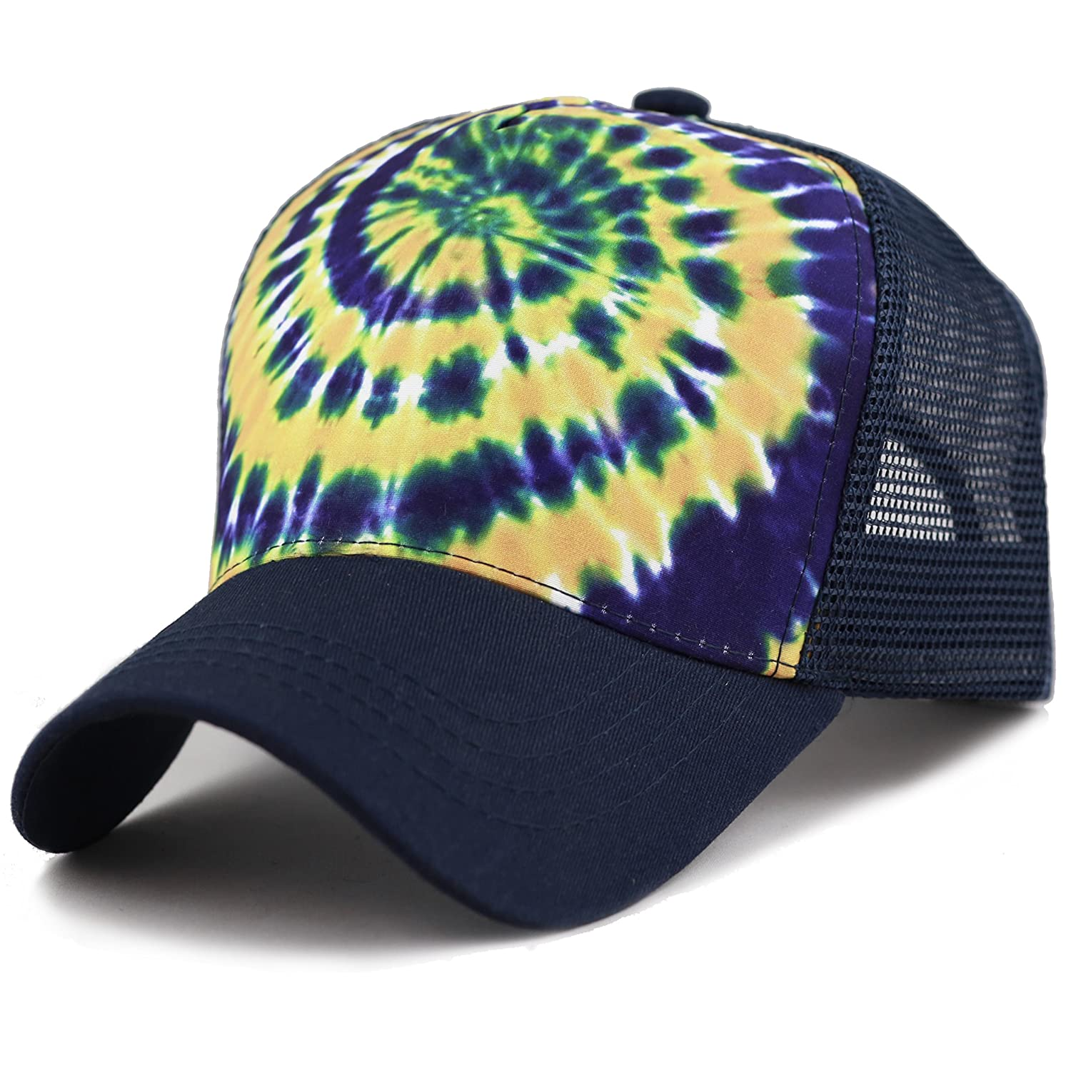 bfe397bd376ed THE HAT DEPOT Tie Dye Print Mesh Back Snapback Trucker Cap Hat (Black  Orange) at Amazon Women s Clothing store
