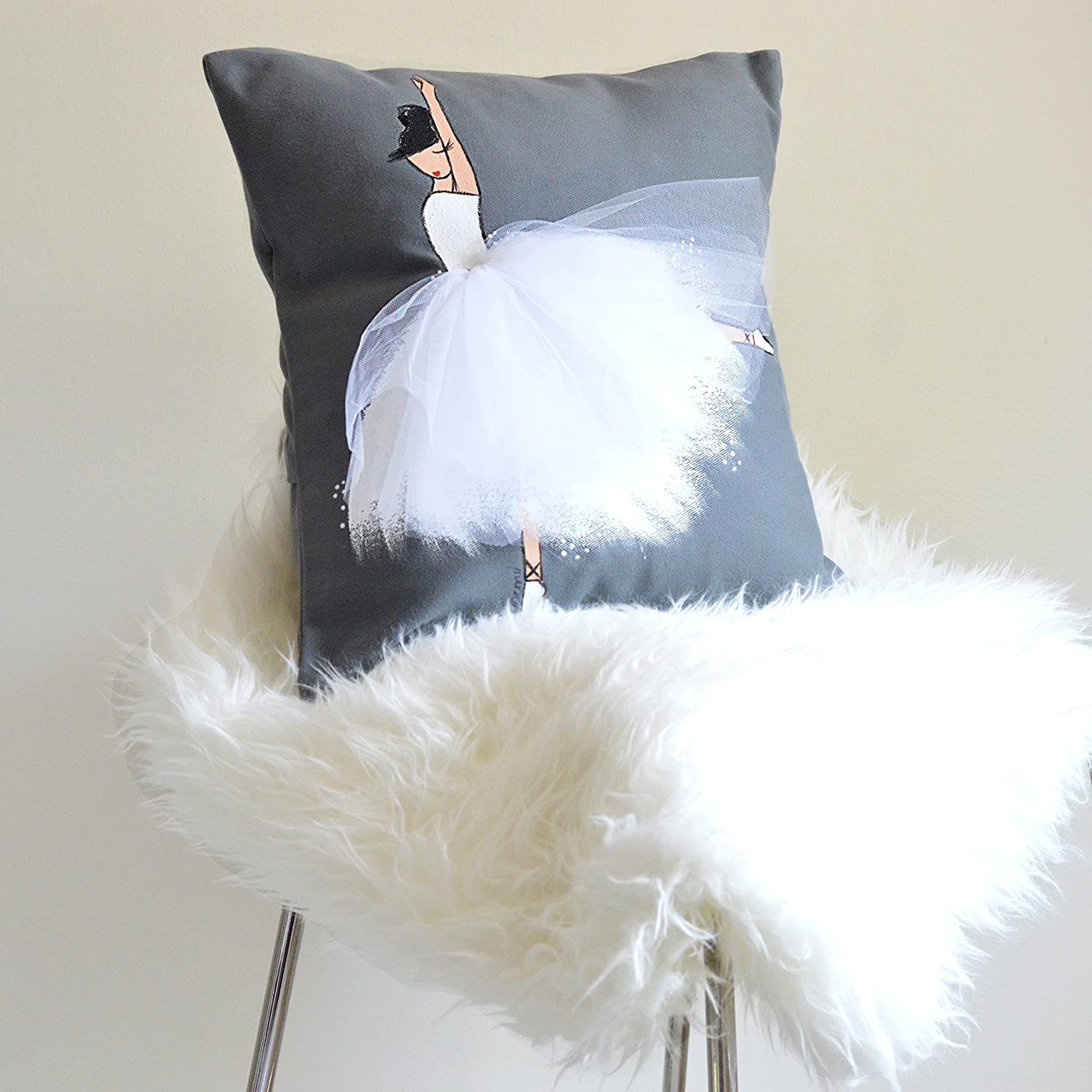 Ballerina Room Decor Pillow Cover Ballet Art on Cushion Accent for Little Baby Girl