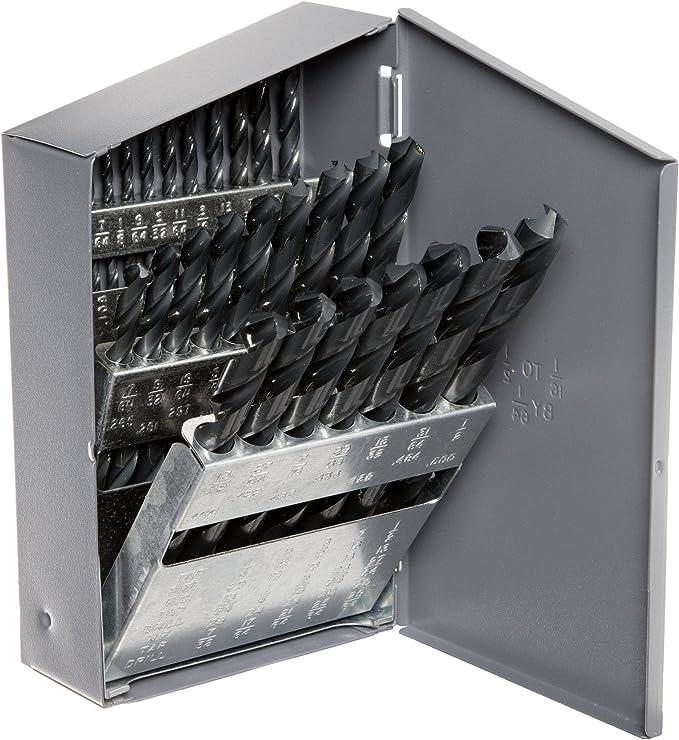 Chicago Latrobe 110 High-Speed Steel Taper Shank Drill Bit 118 Degree Conventional Point Black Oxide Finish #1 Morse Taper Shank 15//64 Size