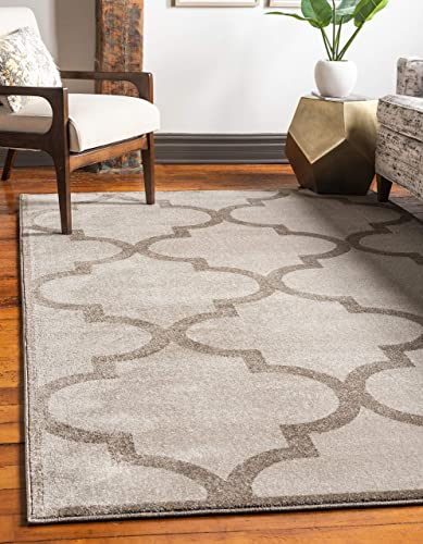 Unique Loom Trellis Collection Moroccan Lattice Beige Area Rug 3 3 x 5 3