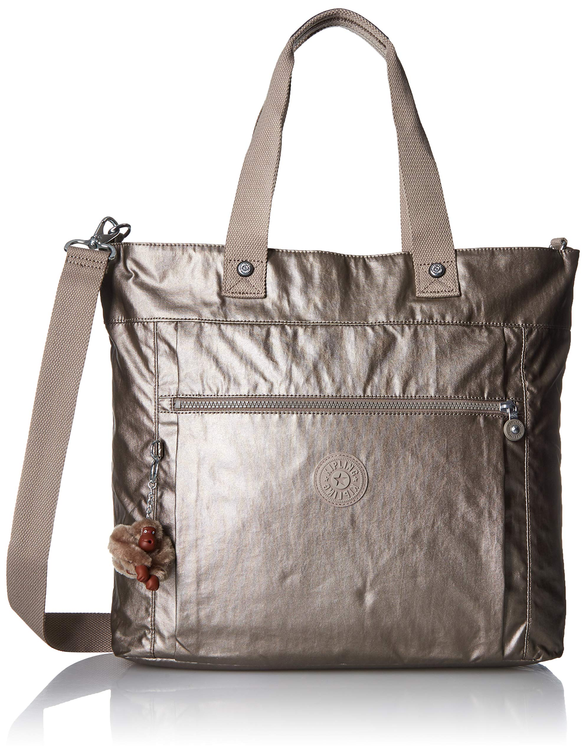 Kipling Lizzie Laptop Tote Bag, Removable, Adjustable Crossbody Strap, Zip Closure, metallic pewter