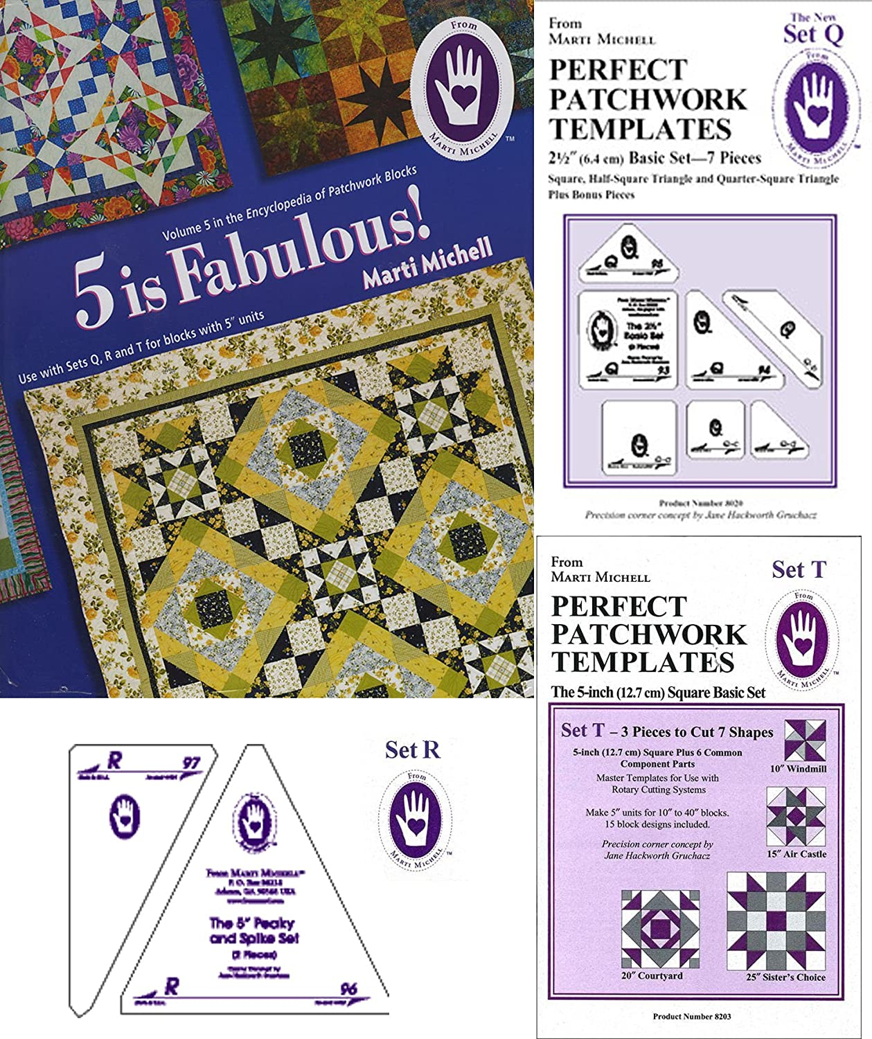 Marti Michell Perfect Patchwork System Volume 5 Bundle - Includes Required Templates Sets Q, R, and T