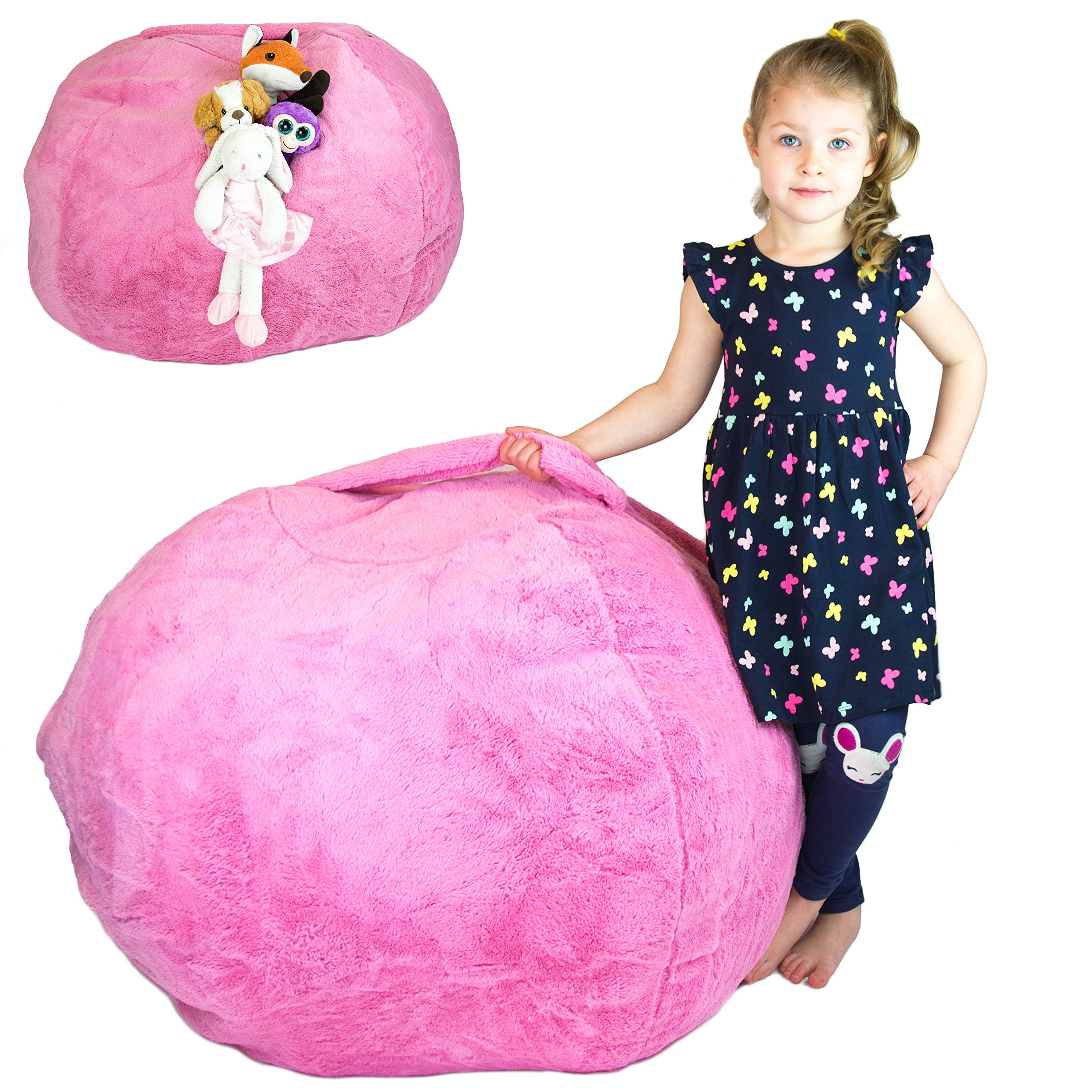 Taha Creations Stuffed Animal Storage Bean Bag Chair Faux Fur Soft Plush Fabric Large 38'' (Pink)