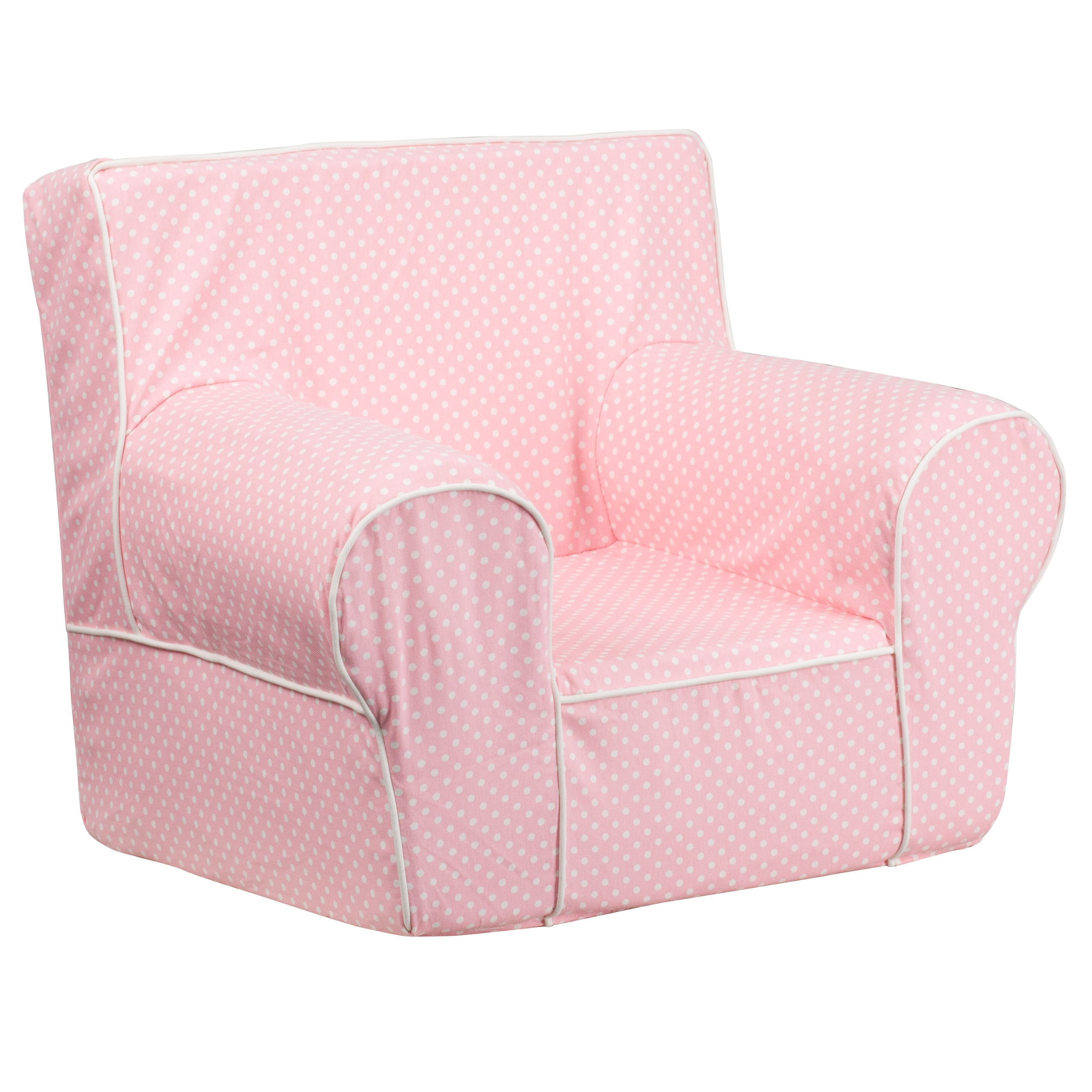 Flash Furniture Small Light Pink Dot Kids Chair with White Piping
