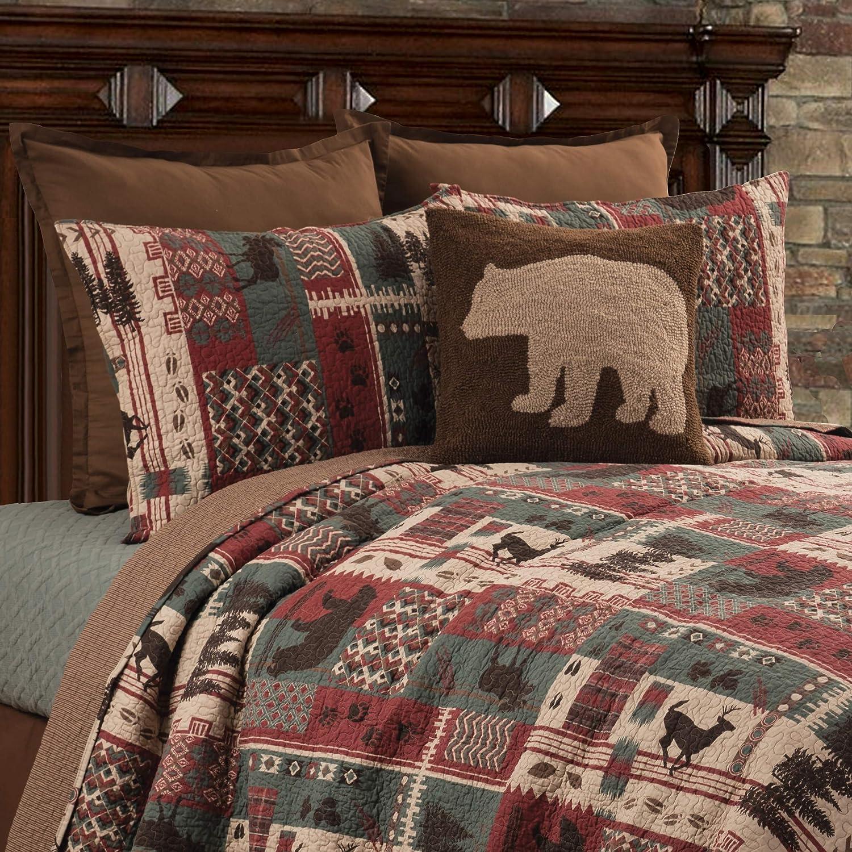 C&F Home Killian Ridge Red Lodge Rustic Cabin Deer Bear Cotton 3 Piece Full Queen Machine Washable Reversible Quilt Set Full/Queen Green