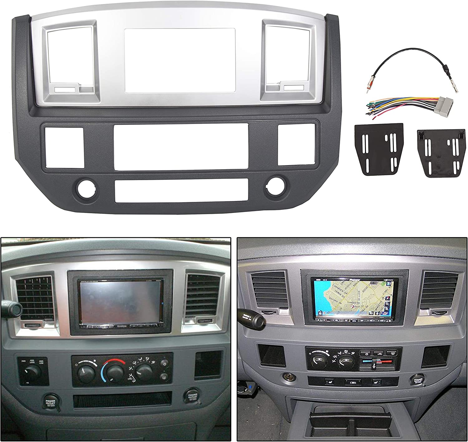 ECOTRIC Stereo Radio Double Din Dash Install Bezel Kit Replacement for 2006-2009 Dodge Ram Truck Silver Slate Gray
