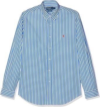 Ralph Lauren Camisa Azul y Blanco a Rayas Camisa de Hombre de Tiempo Libre: Amazon.es: Ropa y accesorios
