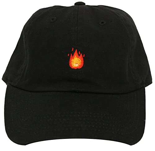 91fea020f43689 Image Unavailable. Image not available for. Color: Generic Custom Dad Hat  Fire Emoji Black Strapback