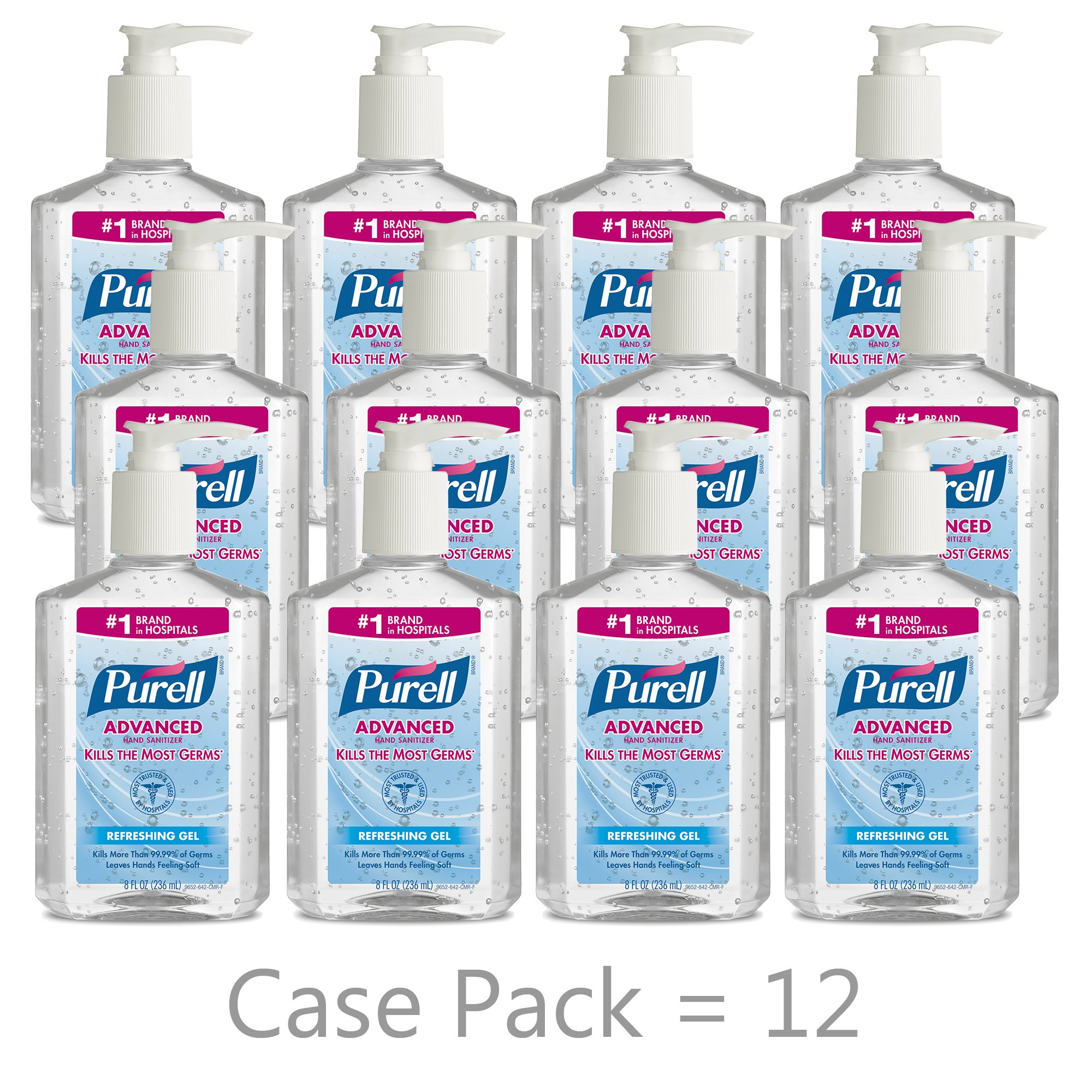 PURELL Advanced Hand Sanitizer, Refreshing Gel, 8 fl oz Sanitizer Table Top Pump Bottle (Case of 12) -  9652-12 by Purell