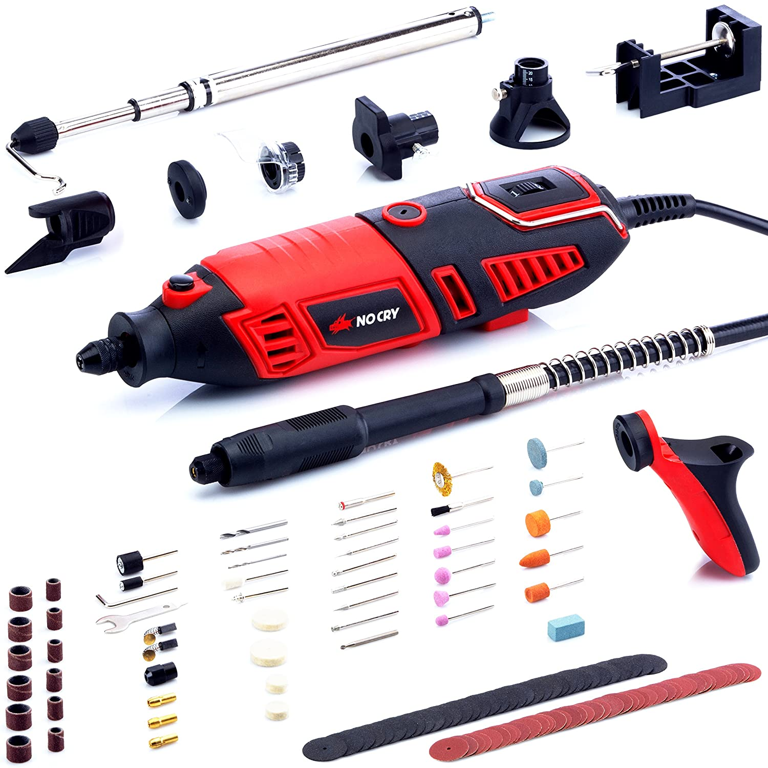 NoCry 10/125 Professional Rotary Tool Kit with Heavy Duty 170W/1.4A Electric Motor, Universal 3-Jaw Chuck, 10 Attachments & 125 Accessories Included