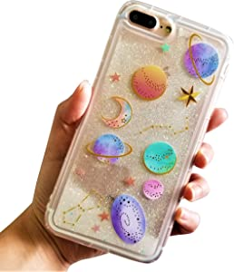"for iPhone 7 Plus 5.5"" for iPhone 8 Plus 5.5"" Cute Clear Transparent Floating Moon Stars Planet Outer Space Liquid Waterfall Bling Glitter Soft Case"