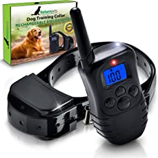 Naturepets Remote Dog Training Collar - Safe and Effective Rechargeable And Rainproof Bark shock Collar with LCD Screen and 100 Vibration and Shock Levels - two GIFTS include