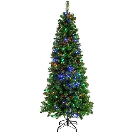 werchristmas pre lit slim christmas tree with 200 multi colour led lights 6 feet