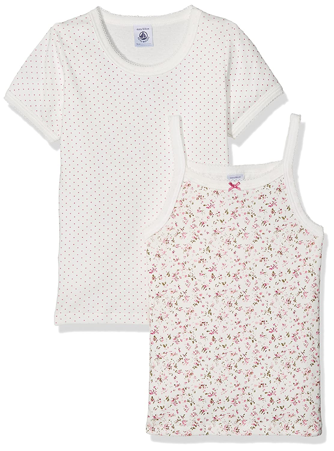 Petit Bateau Girls S/S and Sleevless 2 PK. Undershirts Sizes 2-12 Style 25765