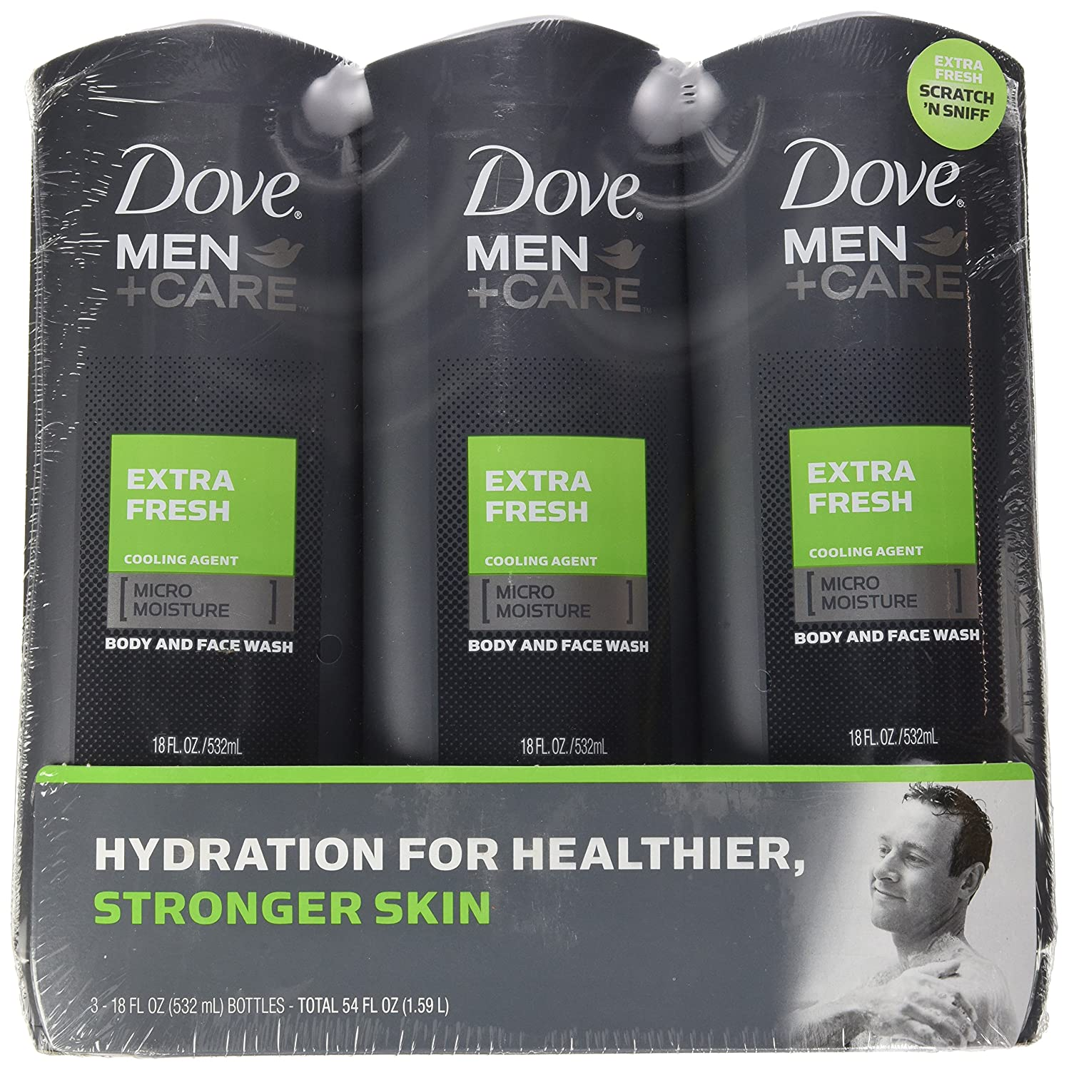 DOVE 1169195 Mens Body Wash Extra Fresh 18 oz.,(Pack of 3)