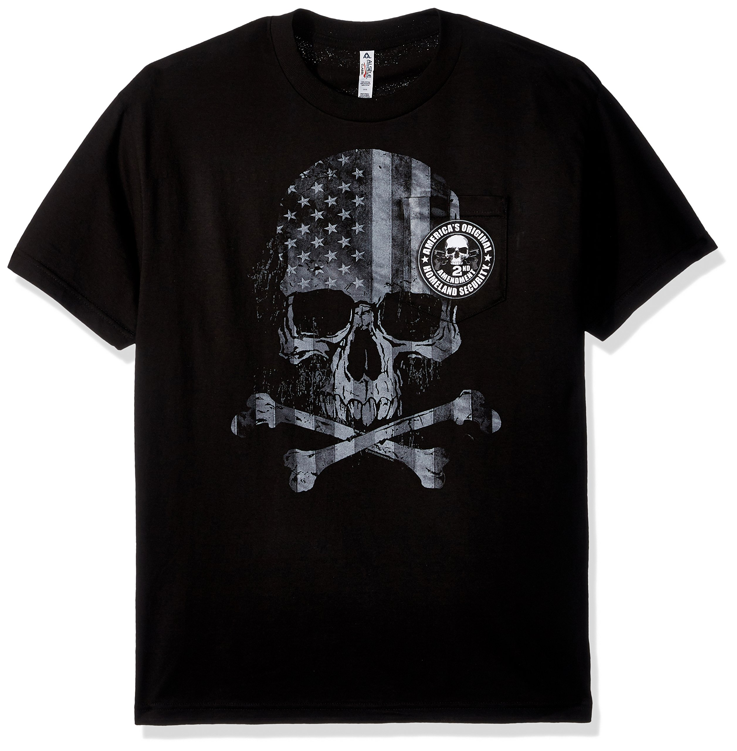 Hot Leathers Patriotic Skull Pocket Short Sleeve 100% Cotton Double Sided Printed Biker T-Shirt