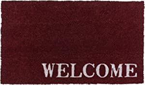 New KAF Home Coir Doormat with Heavy-Duty, Weather Resistant, Non-Slip PVC Backing | 17 by 30 Inches, 0.6 Inch Pile Height | Perfect for Indoor and Outdoor Use (Crimson Welcome)