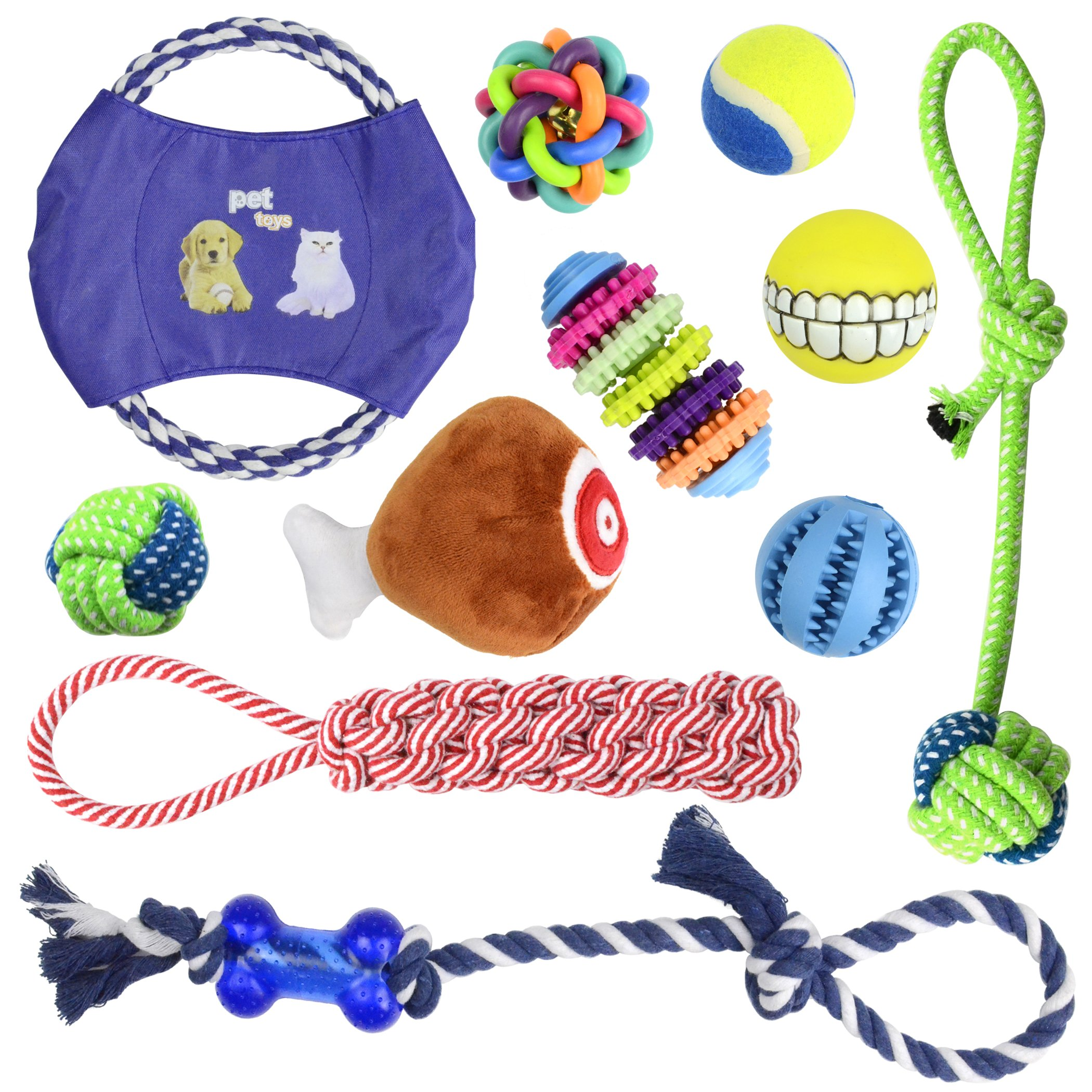 Whoobee Dog Chew Toys - 11 Pack Interactive Dog Toys - Chew Squeak Toys - Dog Toy Set - Rope Dog Toy - Medium and Small Puppy Chew Toys - Durable Dog Treat Balls - Pets Gift Set - Tug of War Ball