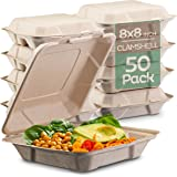 """100% Compostable Clamshell Take Out Food Containers [8X8"""" 50-Pack] Heavy-Duty Quality to go Containers, Natural Disposable Ba"""