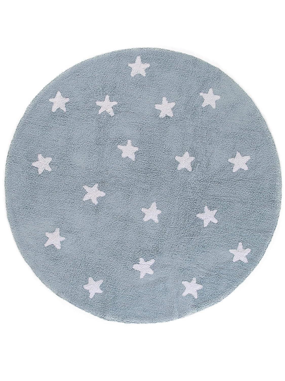 Benuta Kinderteppich Bambini Stars Blau ø 150 cm rund   Teppich für Spiel- und Kinderzimmer