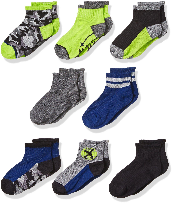 Stride Rite Little Boys' 8-Pack Quarter, Camo Planes-Assorted Colors, Sock: 8-9.5 / Shoe: 13-4