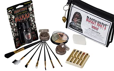Zombie Makeup Kit By Bloody Mary – Halloween Costume Special Effects Palette – Walking Dead FX Makeup Tools – 5 Crayons, Blood, Setting Powder, 4 Application Brushes, 1 Sponge – Carrying Case Included