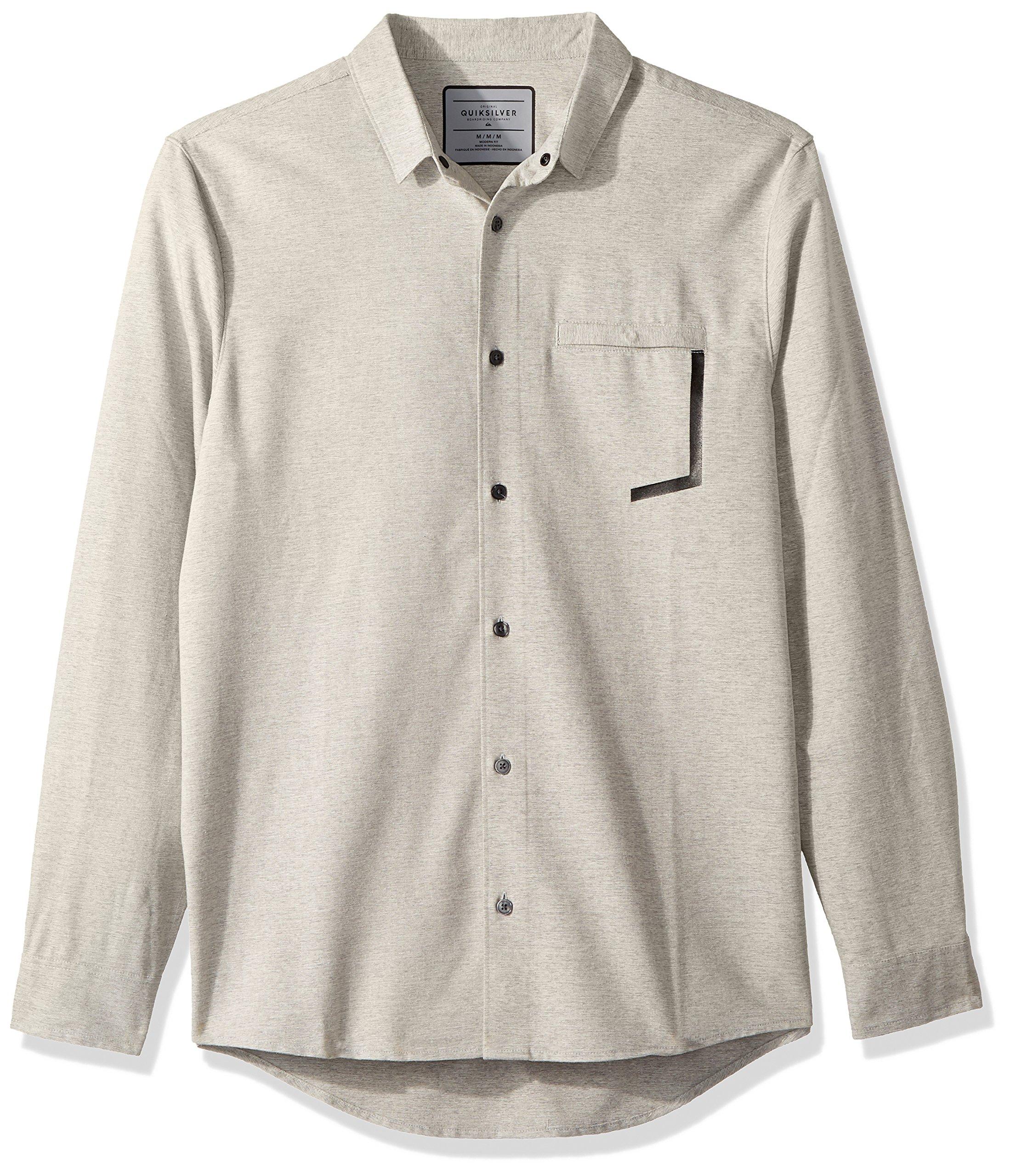Quiksilver Men's Qtrvl Button Down Shirt, Light Grey Heather, M
