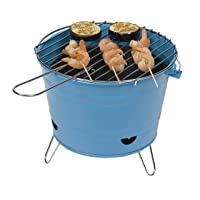 Holzkohlegrill Tepro Arlington Blue blau kleiner Charcoal Grill Camping Balkon Picknick ✔ rund dreieckig ✔ tragbar ✔ Grillen mit Holzkohle ✔ mit Dreibeinen