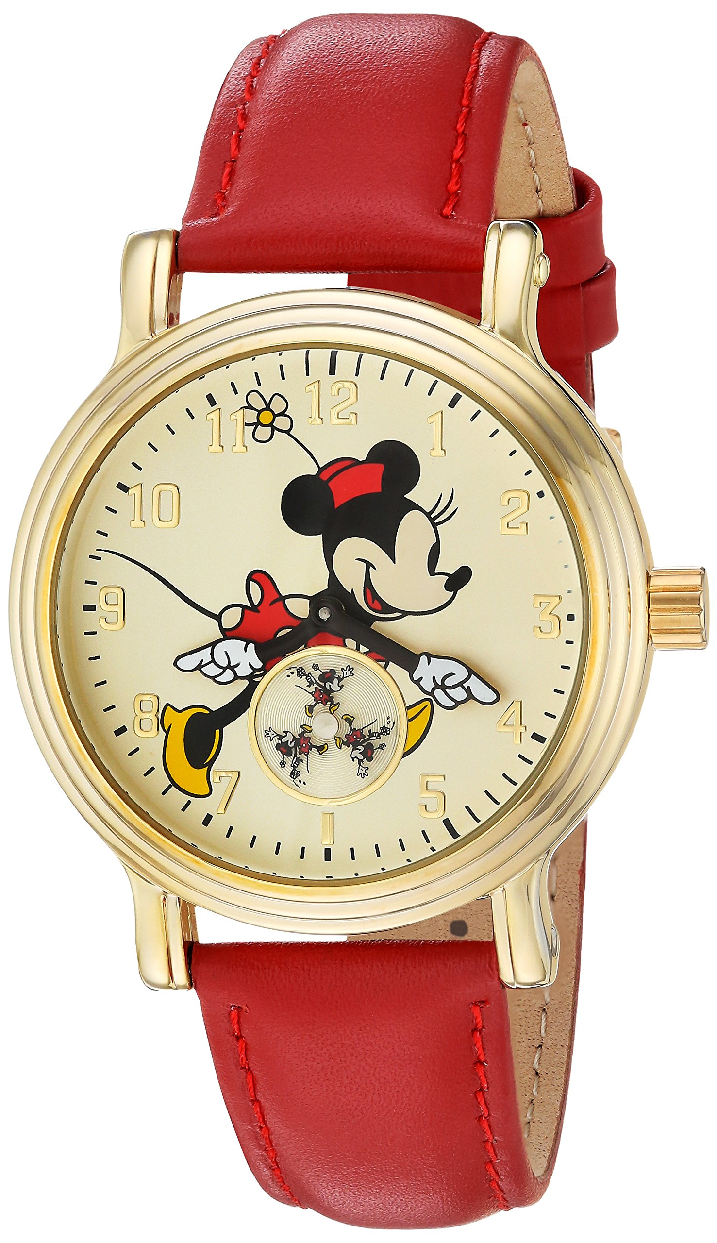 Minnie Mouse Women's Gold Vintage Alloy Watch, Red Leather Strap, W002767