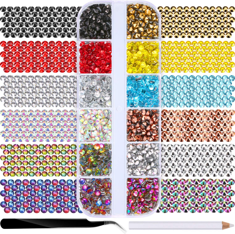 1680 Piezas de Diamantes de Imitación de Espalda Plana de Vidrio Hot Fix Gemas Cristales Redondas en Caja de Almacenamiento con Pinzas y Bolígrafos de Diamantes de Selección (12 Colores)