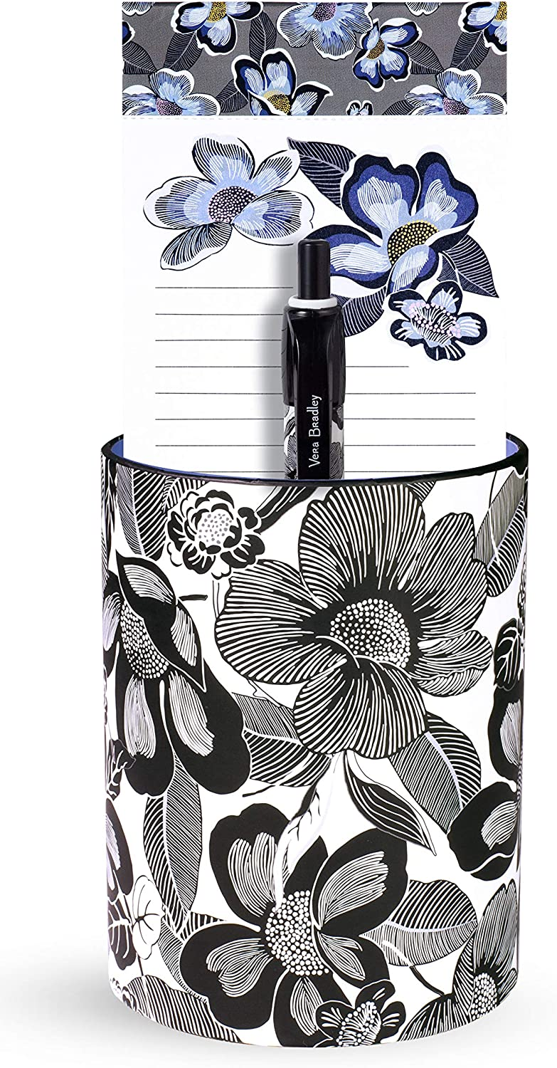 Vera Bradley Pen Cup and Notepad Office Gift Set, Includes Desktop Organizer, Lined List Pad, and Black Ink Ballpoint Pen, Bedford Blooms White