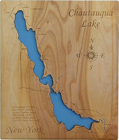 chautauqua lake depth map Amazon Com Wood Map Wall Hanging Chautauqua Lake New York chautauqua lake depth map