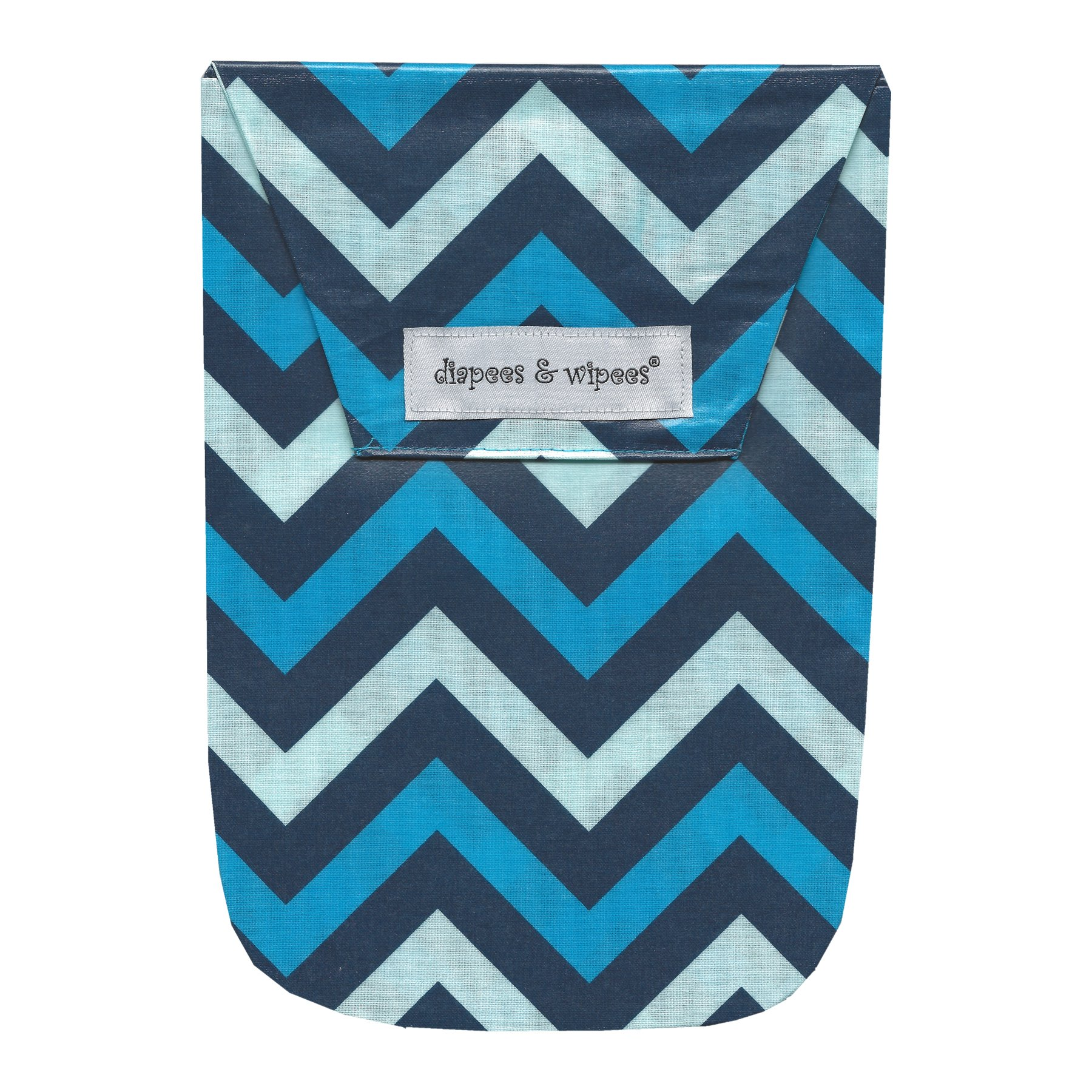 Diapees & Wipees Laminated Bag w/Wipes Case - Chevron Blue