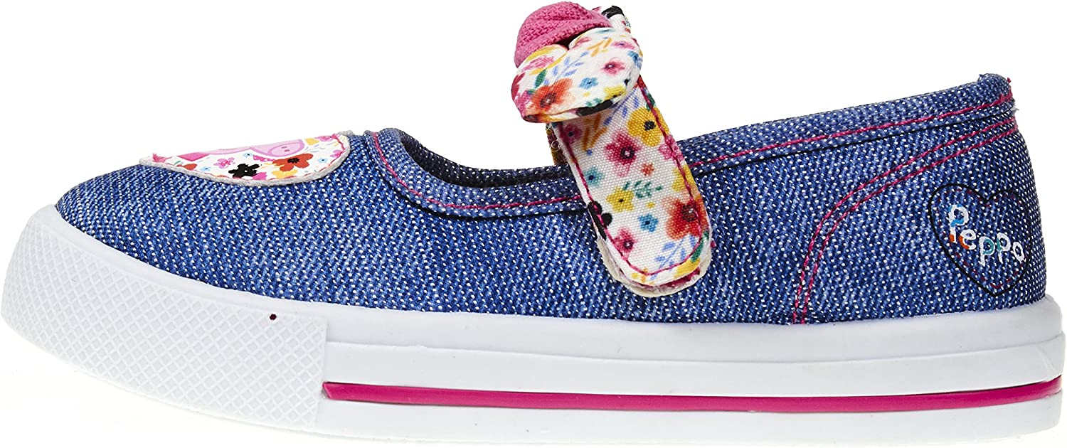 Peppa Pig Toddler Girls Denim Floral Sneakers with Cute Pink Contrast Stitching