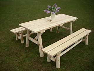 product image for White Cedar Log Picnic Table with Detached Bench - 6 Foot