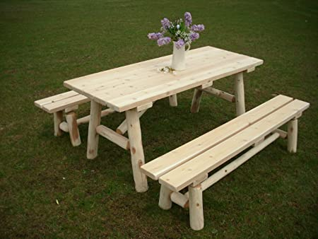 White Cedar Log Picnic Table with Detached Bench – 6 foot