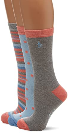 Womens Lshpe492 Socks, Blue (Navy), One Size (Manufacturer Size: 4 to 8) pack of 3 Original Penguin