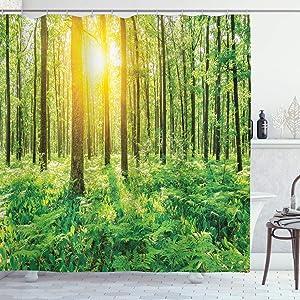 "Ambesonne Woodland Shower Curtain, Forest Springtime Freshness Theme Foliage Sunbeams Sunrise Nature View Scene, Cloth Fabric Bathroom Decor Set with Hooks, 70"" Long, Green Yellow"