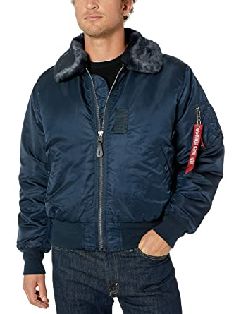 03e67791e0037 Alpha Industries Men's B-15 Nylon Flight Jacket, Replica Blue, Medium