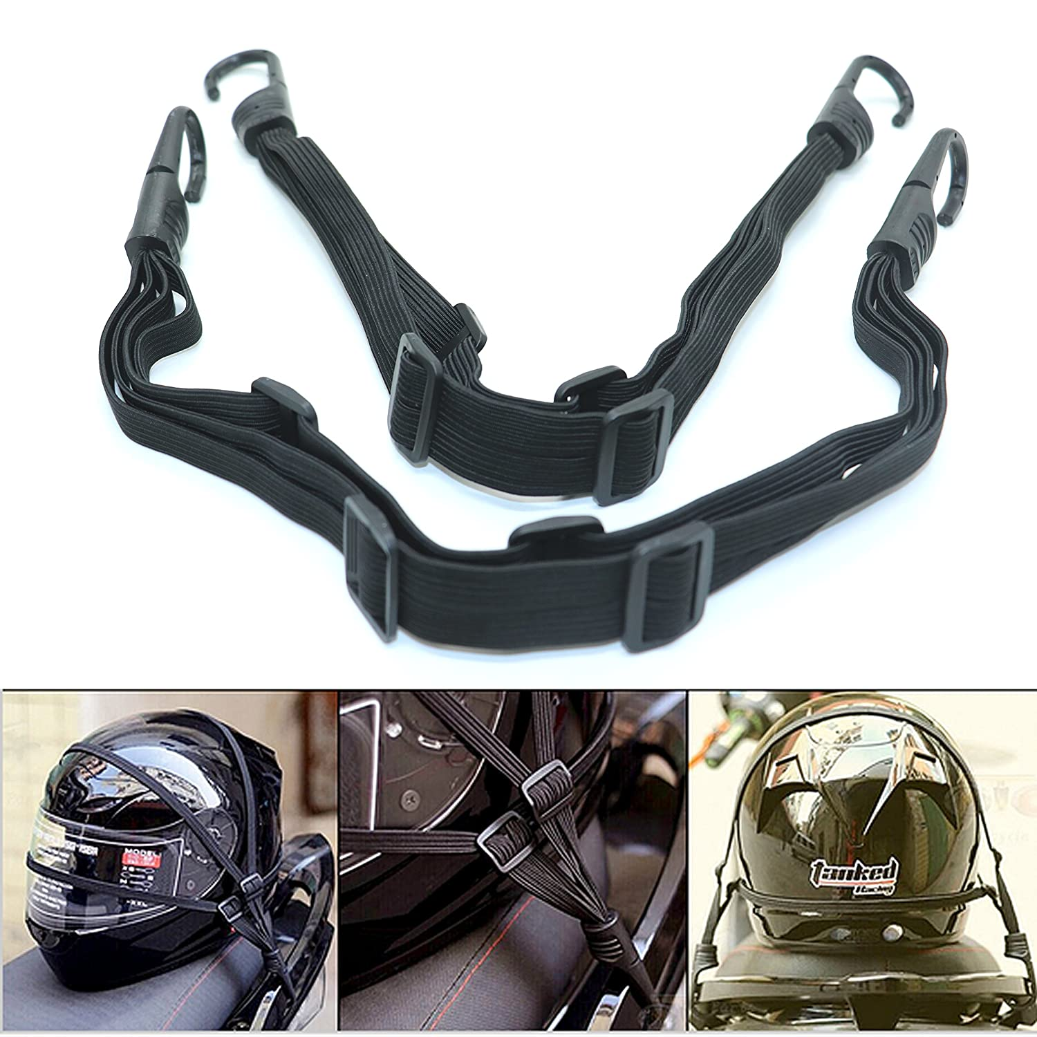 IDS 2 Pcs Motorcycle Helmet Luggage Rope Bungee Cord Bandage Strapping Tape Elastic Strap with 2 hooks Black